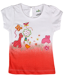 Babyhug Short Sleeves Top Embroidery Work - White And Coral