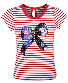Babyhug Short Sleeves Striped Top Bow Design - Red