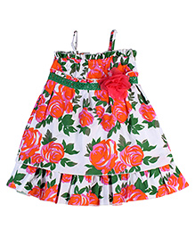 Babyhug Singlet Frock Rose Print White Base - Green And Orange