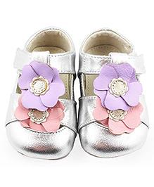 See Kai Run Silver Metallic Sandal with Flower