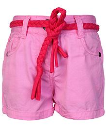 Babyhug Twill Shorts With Braided Belt - Baby Pink