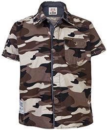Gini & Jony Half Sleeves Shirt Military Pattern - Brown