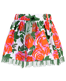 Babyhug Skirt Floral And Leaf Print - Orange And White