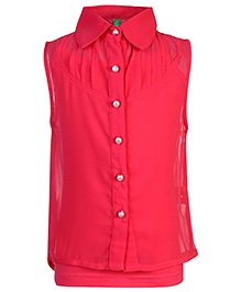Palm Tree Sleeveless Party Top With Inner - Deep Pink