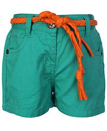 Babyhug Twill Shorts With Braided Belt - Shamrock Green