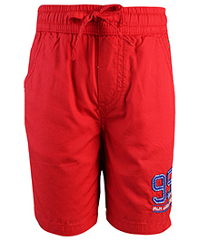 Palm Tree Bermuda Shorts With Drawstring 95 Patch - Red
