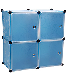 Storage Rack With Four Shelves - Blue And White