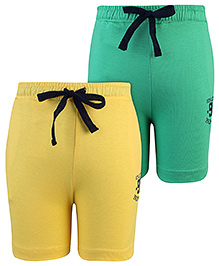 Palm Tree Bermuda Shorts With Drawstring Set Of 2 - Green Yellow