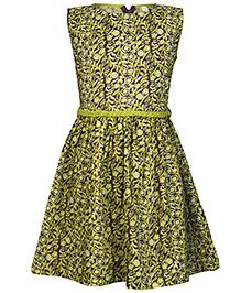 Nino Bambino Oraganic Cotton Sleeveless Dress Paisley Print - Green And Puple