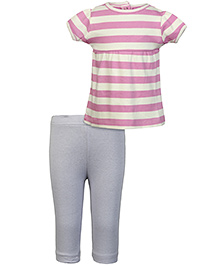 Nino Bambino Organic Cotton Top And Bottom Set - Lavender And Sky Blue