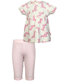 Nino Bambino Organic Cotton Top And Bottom Set - Pink And Natural