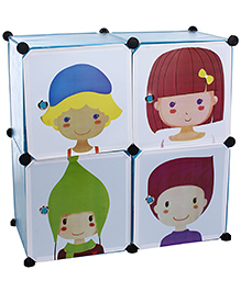 Storage Rack With Four Shelves Kids Print - White