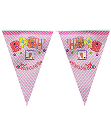 Smartcraft Flag Banner Baby Shower Theme - Pink