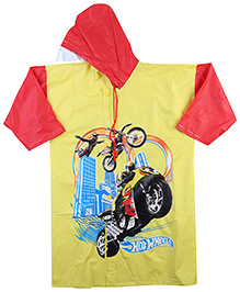 Hotwheels Full Sleeves Raincoat With Bike Print - Red And Yellow
