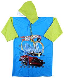 Hotwheels Full Sleeves Raincoat Multi Print - Green And Blue