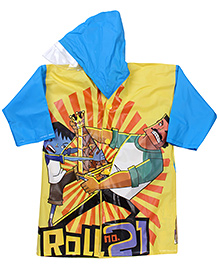 Little Krishna Full Sleeves Raincoat - Yellow And Blue