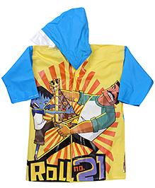 Little Krishna Full Sleeves Raincoat - Yellow And Blue