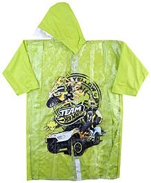 Hotwheels Full Sleeves Raincoat Multi Print - Green