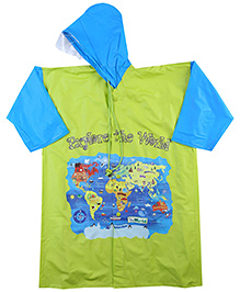 Reliable Full Sleeves Raincoat Explore The World Print - Green And Blue