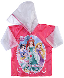Disney Princess Back Bag Cover Full Sleeves Raincoat Princess Print - Pink And White