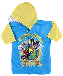 Micky Mouse And Friends Full sleeves Hooded Raincoat - Blue And Yellow