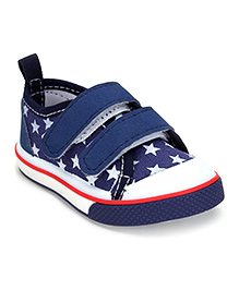 Cute Walk Casual Shoes With Velcro Closure Stars Print - Navy Blue