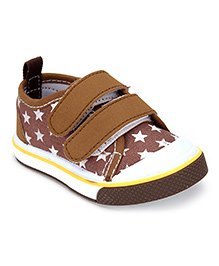 Cute Walk Casual Shoes With Velcro Closure Stars Print - Coffee Brown