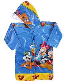 Mickey Mouse And Friends Full Sleeves Raincoat With Print - Blue