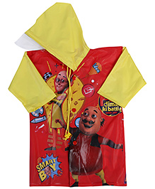 Motu Patlu Full Sleeves Raincoat With Print - Red And Yellow