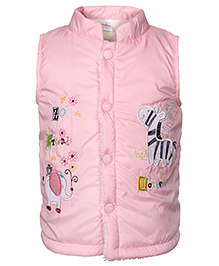 Babyhug Sleeveless Jacket Embroidered - Light Pink