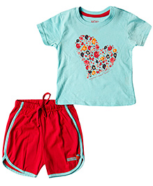 Wow Mom Knit T-Shirt And Shorts Heart And Birds Print - Baby Blue