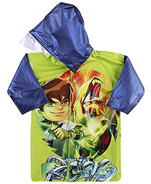 Ben 10 Full Sleeves Raincoat With Print - Green And Navy Blue