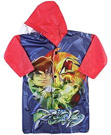 Ben 10 Full Sleeves Raincoat With Print - Red And Navy Blue