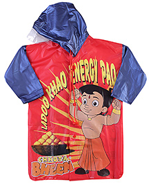 Chhota Bheem Full sleeves Hooded Raincoat - Red And Navy