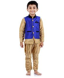Babyhug Kurta And Jodhpuri Breeches With Jacket -  Blue And Golden