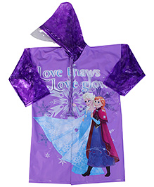 Snow White Print Full Sleeves Raincoat - Purple