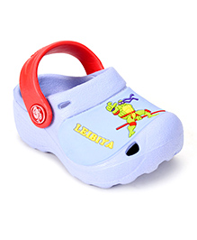 Cute Walk Clogs With Back Strap Ninja Turtle Motif - Sky Blue And Red