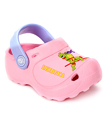 Cute Walk Clogs With Back Strap Ninja Turtle Motif - Pink And Lavender