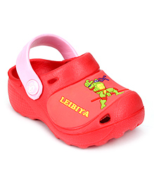 Cute Walk Clogs With Back Strap Ninja Turtle Motif - Red And Pink