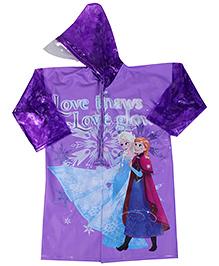 Snow White Print Full Sleeves Raincoat - Purple