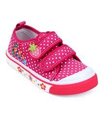 Cute Walk Casual Shoes With Velcro Closure Polka Dot Print - Dark Pink
