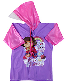 Dora Full Sleeves Hooded Raincoat - Purple And Pink