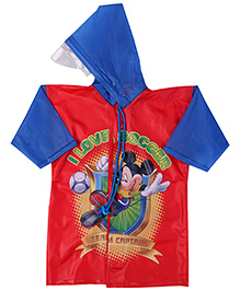 Mickey Mouse And Friends Printed Raincoat - Red And Blue