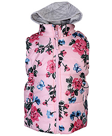 Babyhug Hooded Sleeveless Jacket Floral Print - Pink