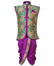 Babyhug Sleeveless Jacket Style Kurta And Dhoti Set Self Design - Green And Purple