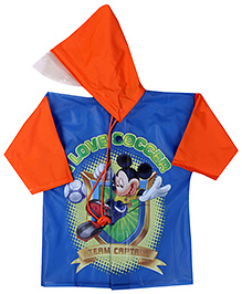 Mickey Mouse And Friends Full Sleeves Raincoat Print - Deep Orange And Blue