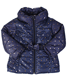 Babyhug Full Sleeves Jacket With Bow Applique - Navy Blue