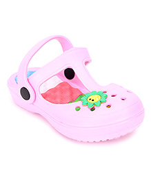 Cute Walk Clogs With Back Strap Sunflower Motif - Baby Pink