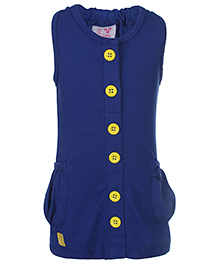Little Kangaroos Sleeveless Top With Contrast Buttons - Blue