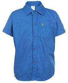 Babyhug Half Sleeves Shirt With One Pocket - Royal Blue